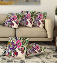 KS21 Homes Jute Cushion Covers Set of 5 with Digital Print in Multi Colorm35g Size 16 Inch x 16 Inch m4g40 cm x 40 cmm5g