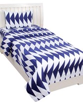 KS21 Homes 3d Single  with one pillow coverm35g Printed white-blue
