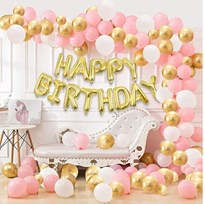 Blooms Mall 101 Pcs Wonderful Combo Happy Birthday Letter Foil Balloon  m7g Pinkm35g White and Golden Metallic Balloons