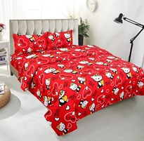 Radha Krishna handloom Fabric polycotton Double Bed Hello Kitty Bedsheet with 2 Pillow Coversm35g Red m4gKing Sizem5g