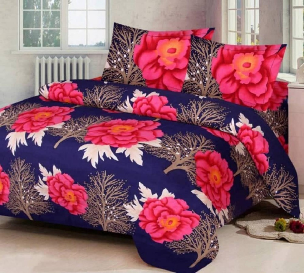 KS21-Homes-3D-Double-Bedsheet-with-2-Pillow-Cover,-Size--90-X-90-Inch,-144TC,-Printed,BLUE