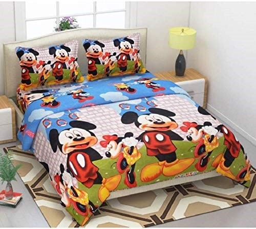 KS21-Homes-Glace-Cotton-3D-Double-Bedsheet-with-2-Pillow-Cover,-Size--90-X-90-Inch,-144TC,-Printed,-BLUE-MICKY