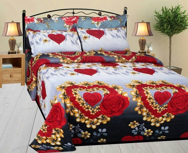 KS21-Homes-3D-Double-Bedsheet-with-2-Pillow-Cover,-Size--90-X-90-Inch,-144TC,-Printed,-white-Purple
