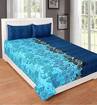 KS21 Homes 3D Double Bedsheet with 2 Pillow Cover, Size- 90 X 90 Inch, 144TC, Printed, AQUA-BLUE