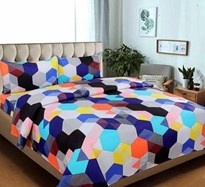 KS21 Homes 3D Double Bedsheet with 2 Pillow Cover, Size- 90 X 90 Inch, 144TC, Printed, multicolour-blue