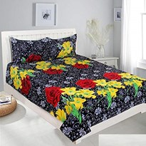 KS21 Homes 3D Double Bedsheet with 2 Pillow Cover, Size- 90 X 90 Inch, 144TC, Printed, BLACK-YELLOW