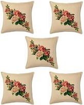 KS21 Homes Jute Cushion Covers Set of 5 with Digital Print in Multi Color, Size 16 Inch x 16 Inch (40 cm x 40 cm)