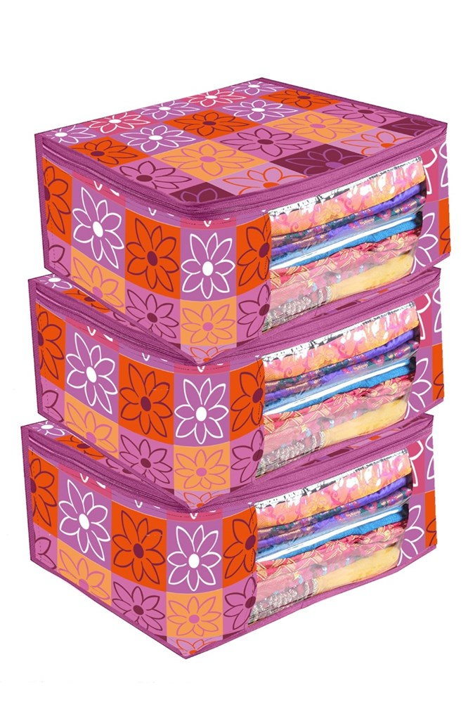 A.N-Decor-Pink-Color-Flower-Printed-Set-Of-3-Non-Woven-Saree-Bag