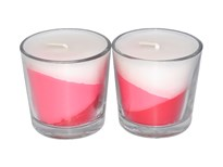 Red Tripled Layered Scented Glass Candle