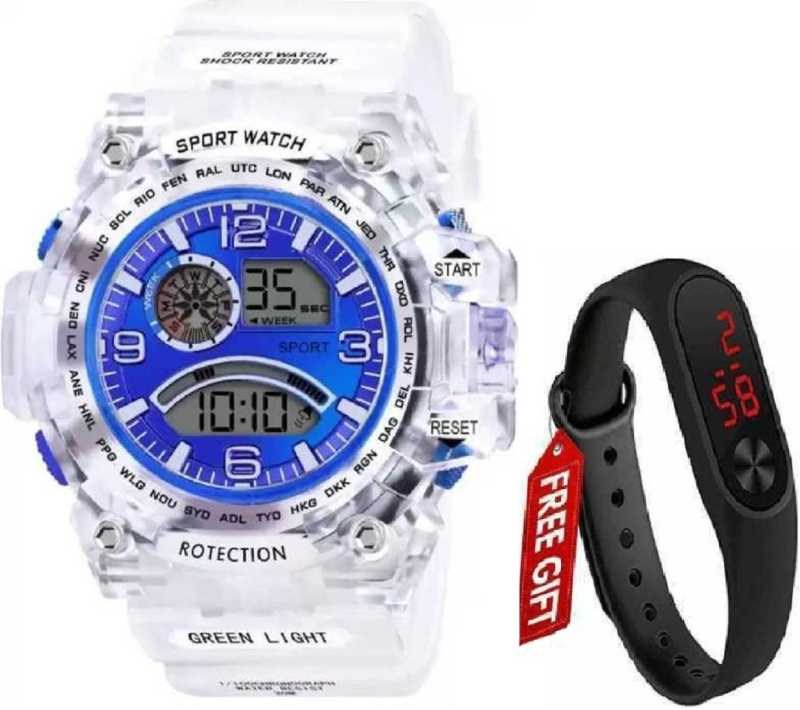 Abx1017-Gents-Transparent-White-Strap-Blue-Dial-NEW-GENERATION-DIGITAL-NEW-DIGITAL-LED-SPORTS-Digital-smart-Watch-Unique-Arrow-New-Arrival-Silicon-Strap-(S-SHOCK)-(G90)-DIGITAL-STYLISH-WATCHES-FOR-KIDS-Digital-Watch---For-Men-New-Latest-Red-LED-Illuminated-Display-LED,Digital-Black-Digital-Watch-Digital-Watch-Digital-Watch---For-Men