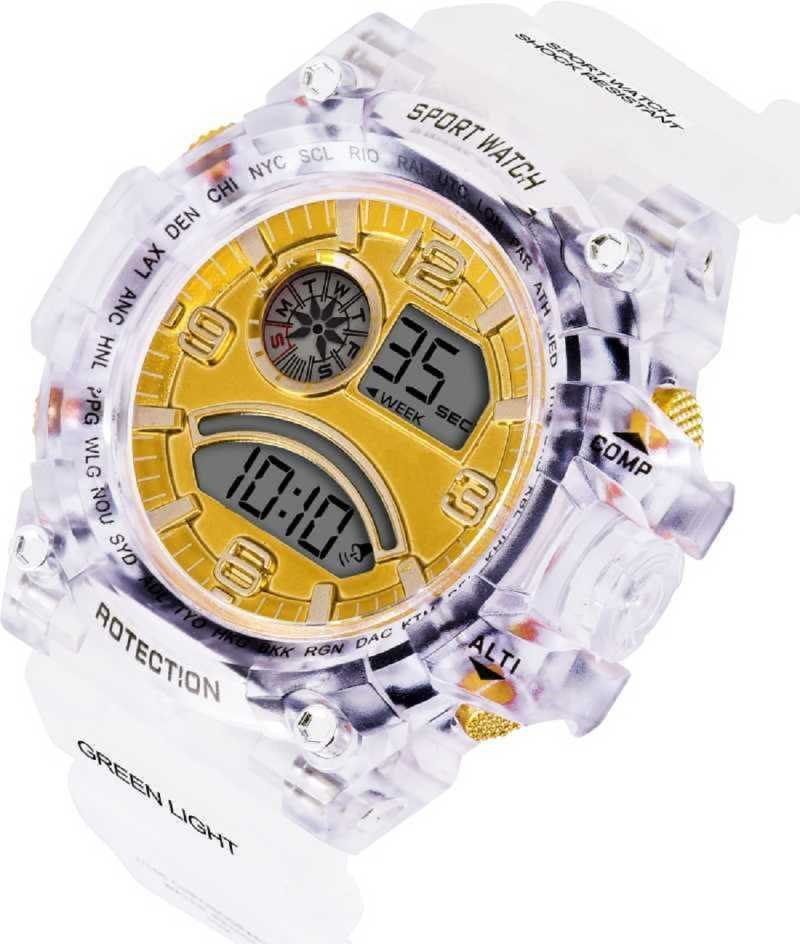 Abx1017-Gents-Transparent-White-Strap-Gold-Dial-NEW-GENERATION-DIGITAL-NEW-DIGITAL-LED-SPORTS-Digital-smart-Watch-Unique-Arrow-New-Arrival-Silicon-Strap-(S-SHOCK)-(G90)-DIGITAL-STYLISH-WATCHES-FOR-KIDS-Digital-Watch---For-Men-New-Latest-Red-LED-Illuminated-Display-LED,Digital-Black-Digital-Watch-Digital-Watch-Digital-Watch---For-Men