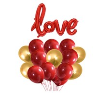 Blooms Mall Anniversary Love 31 pcs Combo Love shape foil Balloon + Red and Golden Metallic Balloons