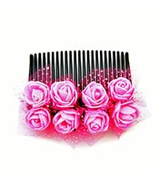 Pink Flowers Party/ Wedding Hair Comb Clip for Grils & Woman