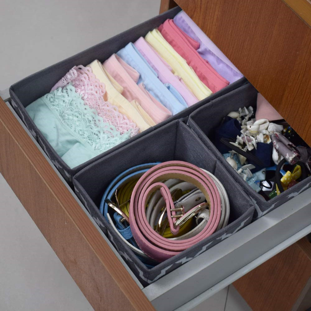 House-of-Quirk-Foldable-Cloth-Storage-Box-Closet-Dresser-Drawer-Organizer-Cube-Basket-Bins-Containers-Divider-with-Drawers-for-Underwear,-Bras,-Socks,-Ties,-Scarves,-Set-of-6-(Grey-Lantern)