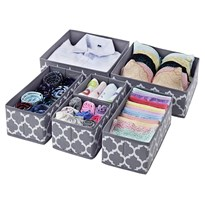 House of Quirk Foldable Cloth Storage Box Closet Dresser Drawer Organizer Cube Basket Bins Containers Divider with Drawers for Underwear, Bras, Socks, Ties, Scarves, Set of 6 (Grey Lantern)