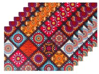 Winner Multicolor Print Table Placemats - 6 Piece Dining Mats/Table Mats
