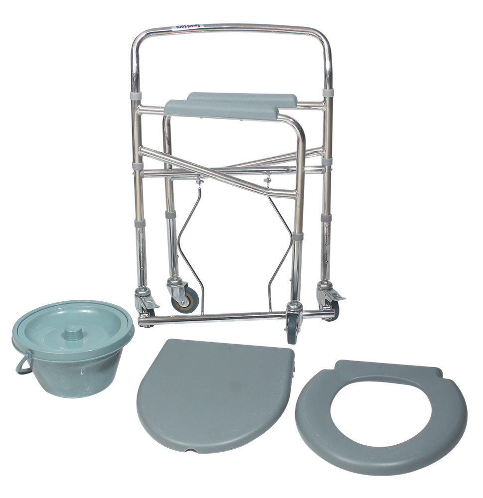 SMARTCARE-Portable-Height-Adjustable-Commode-Chair-with-Commode-Pot-and-Wheel---SC-696