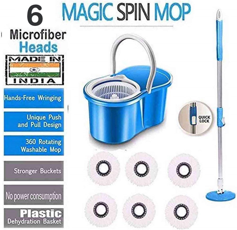 360°-ROTATING-MOP- -FLOOR-CLEANING-PVC-DRYER-AND-BUCKET-MOP-WITH-6-REFILLS