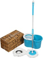 JOHN RICHARD 360° SPIN PVC MOP WITH 2 MICROFIBER HEADSm24g FLOOR CLEANER WITH BUCKET