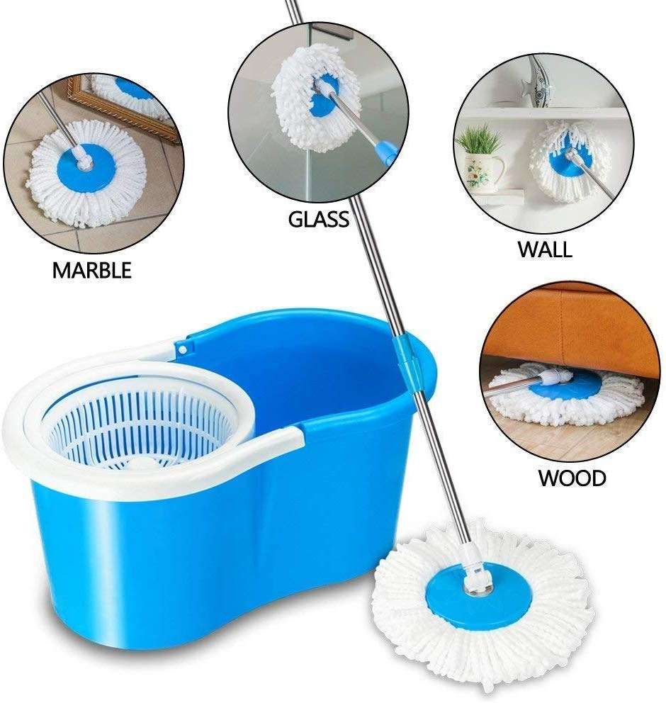 Spin-Floor-Cleaning-Easy-Bucket-PVC-Mop-with-2-Microfiber-Heads