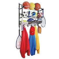 GTC SPORTS EQUIPMENT HANGING RACK WITH ADJUSTABLE HOOKS