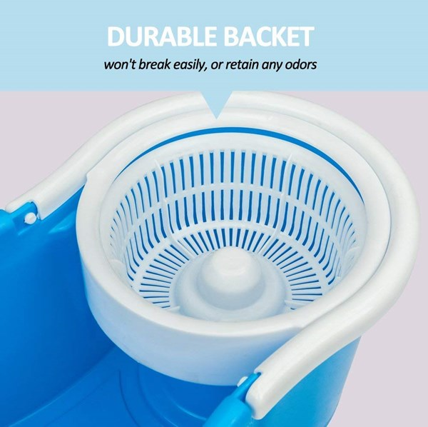 360°-ROTATING-MOP-|-FLOOR-CLEANING-PVC-DRYER-AND-BUCKET-MOP-WITH-6-REFILLS