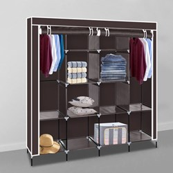 Foldable Clothes Storage Rack With 12 Shelves   Coffee