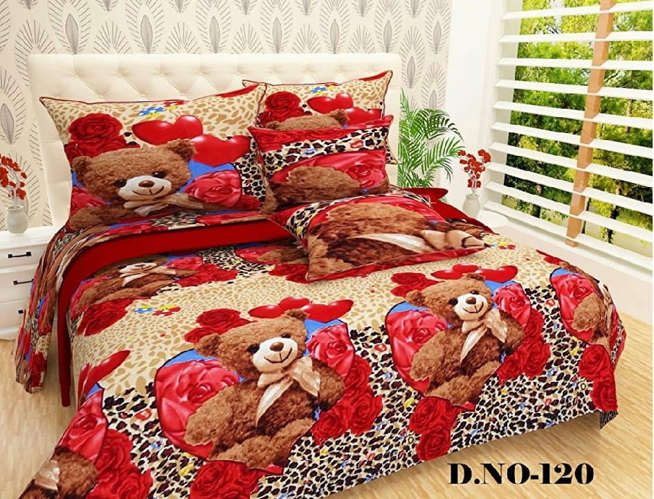 Radha-Krishna-handloom-Fabric-polycotton-Double-Bedsheet-with-2-Pillow-Covers-Multicolor-Teddy-Bear-(King-Size)