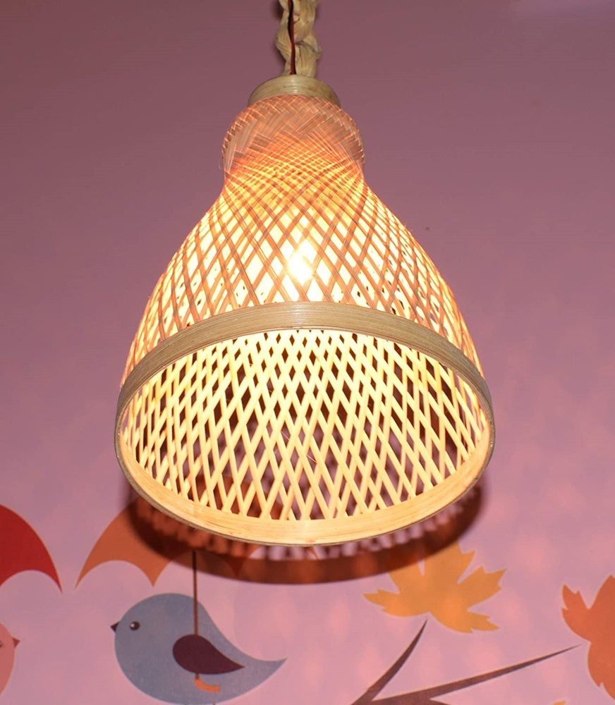 Home-Decorative-Handicraft-Bamboo-10-Inches-Bell-Type-Hanging-Lamp-with-12-Inch-Chain