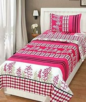 Affordable Hut Single Cotton Bed Sheet with ONE Pillow Cover 60 X 90 Inches SBS-29