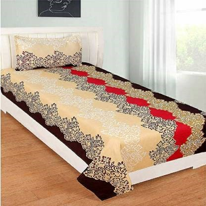 """Affordable-Hut-Single-Cotton-Bed-Sheet-with-ONE-Pillow-Cover-60""""-X-90"""